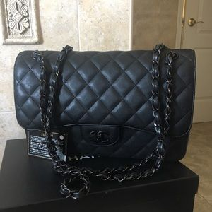 RARE Chanel  So Black Jumbo Crumpled Calfskin
